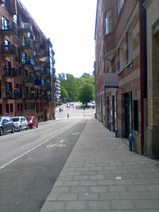 Risåsgatan mot Brunnsgatan taget från Risåsgatan 5/6-2015