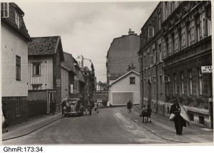 Brunnsgatan sedd från Västergatan mot  Övre Husargatan .1938