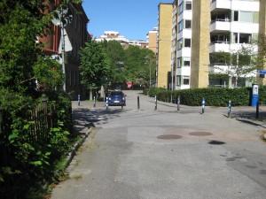 Spekebergsgatan mot Västergatan.Annedalsskolan till vänster.14/8-2015
