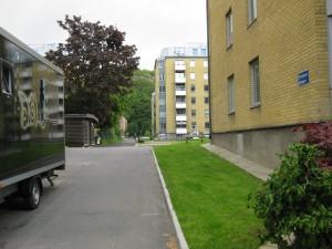 Snickaregången fr.Västergatan mot C.Grimbergsgatan.   23/6-2015