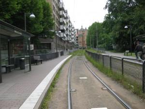 Västergatan norrut mot Föreningsgatan fr. hållplatsen Brunnsgatan.23/6-2015