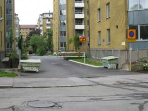 Snickaregången sedd från Carl Grimbergsgatan 23/6 2015